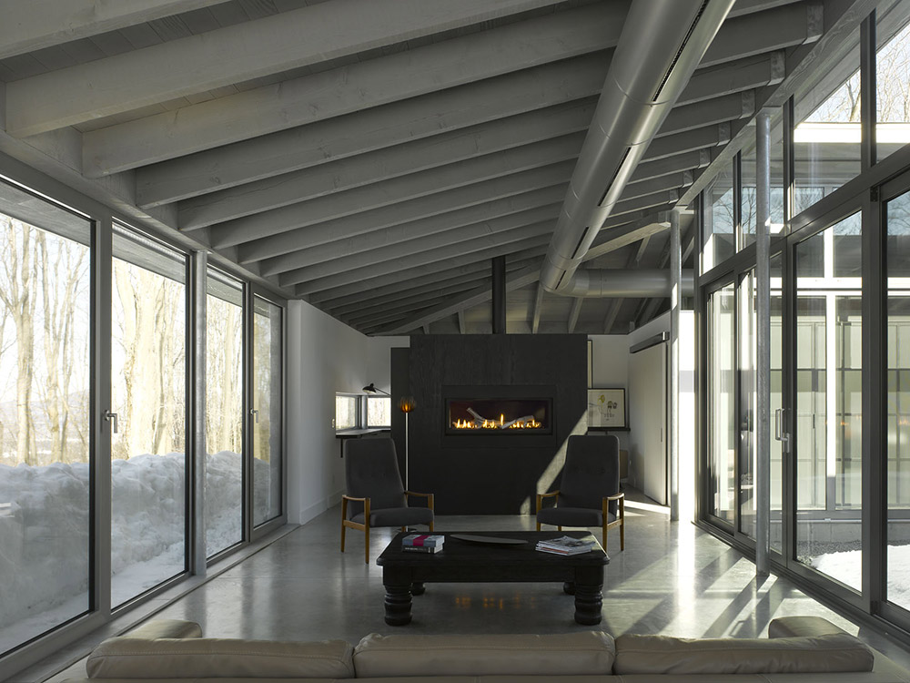 Living Space, Contemporary Fireplace, Maison de Bromont, Quebec, Canada by Paul Bernier