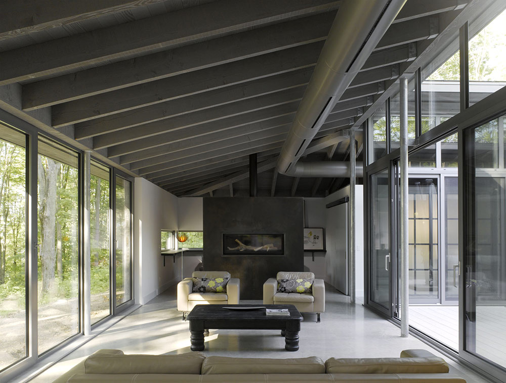 Living Space, Contemporary Fireplace, Maison de Bromont, Quebec, Canada by Paul Bernier