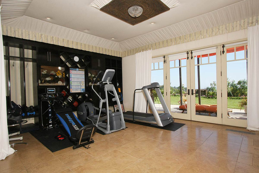 Fitness Room Gym Beautiful Mediterranean Home Beverly Hills