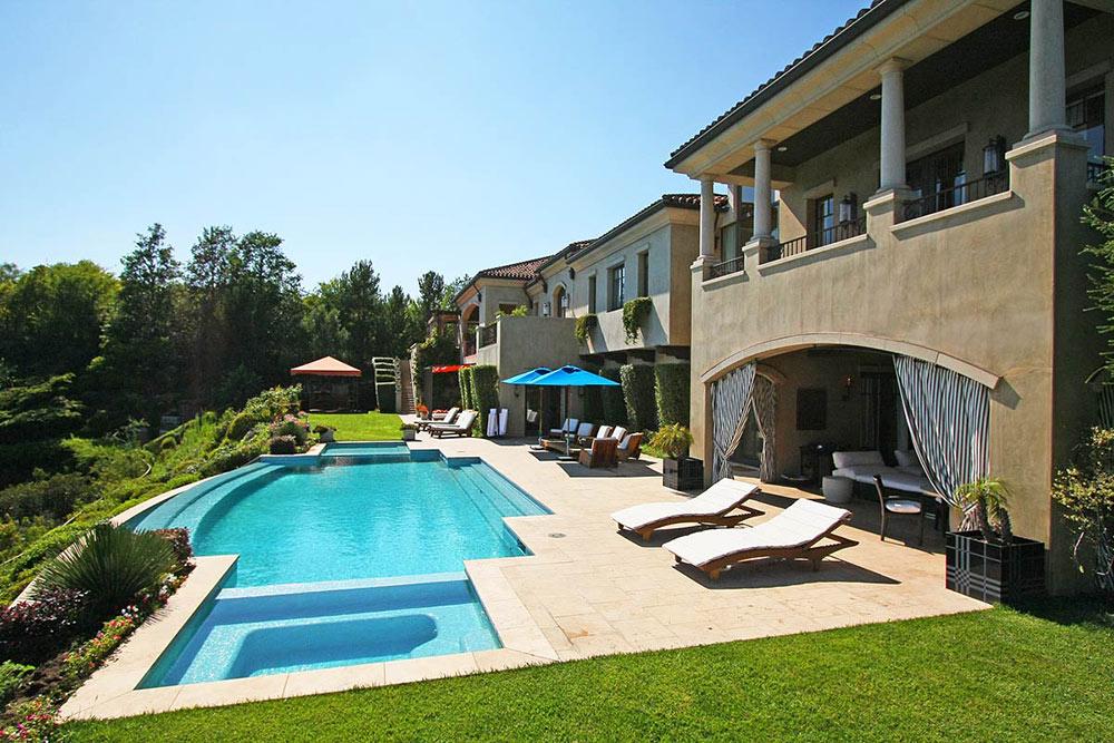 Terrace, Pool, Outdoor Living, Beautiful Mediterranean Home Beverly Hills