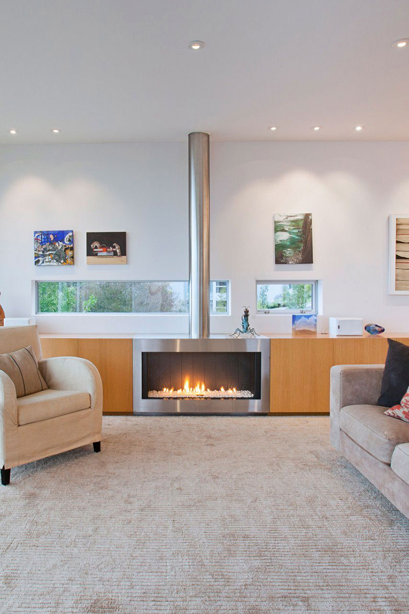 Contemporary Fireplace, Redcliffs House, Christchurch, New Zealand by MAP Architects