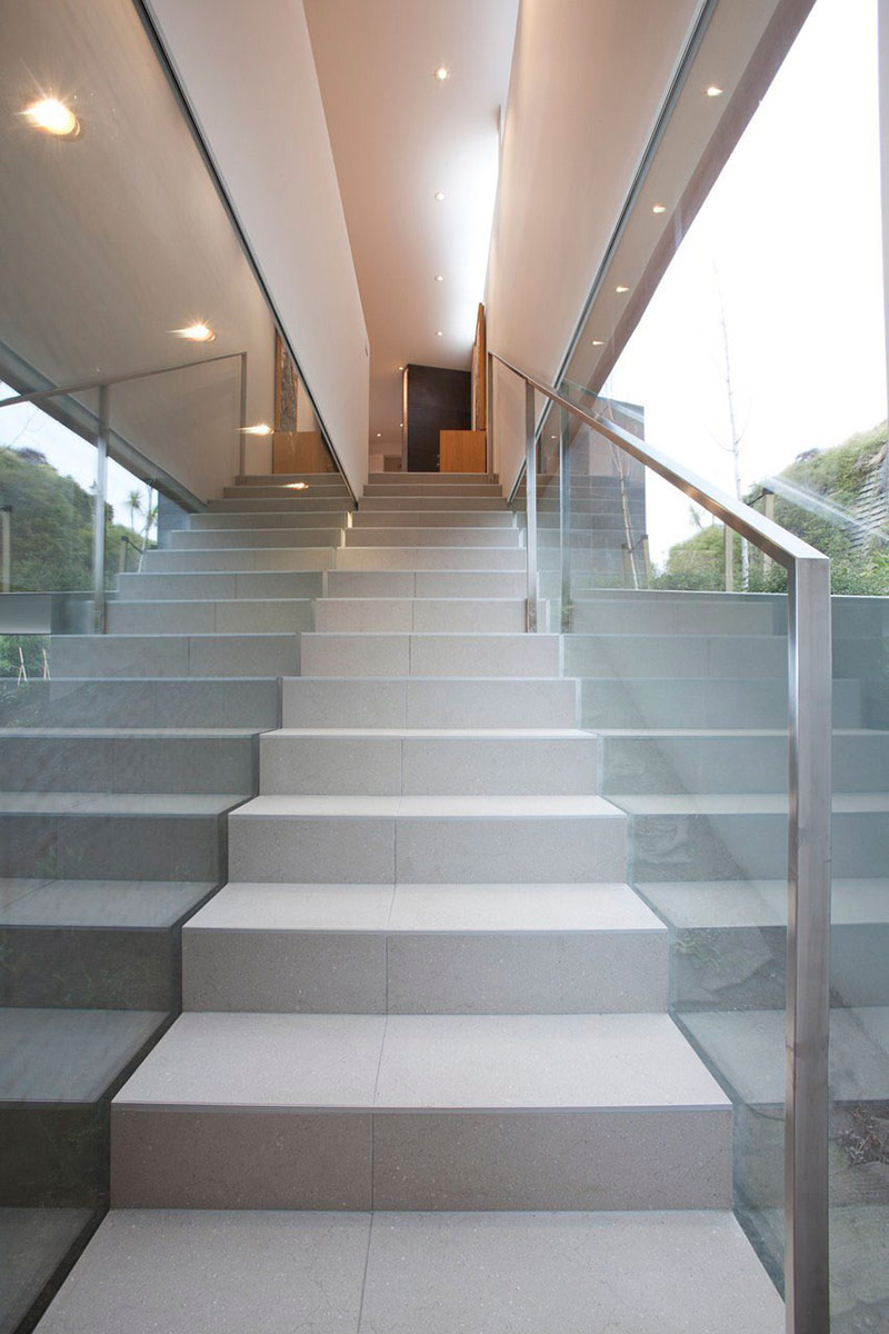 Stairs, Glass Wall, Redcliffs House, Christchurch, New Zealand by MAP Architects
