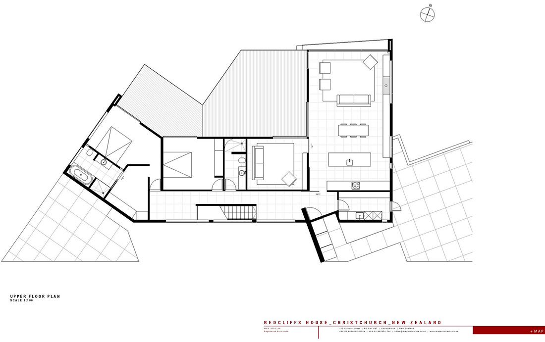 Upper Floor Plan, Redcliffs House, Christchurch, New ...