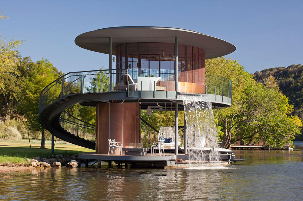 Shore Vista Boat House, Lake Austin, Texas by Bercy Chen Studio