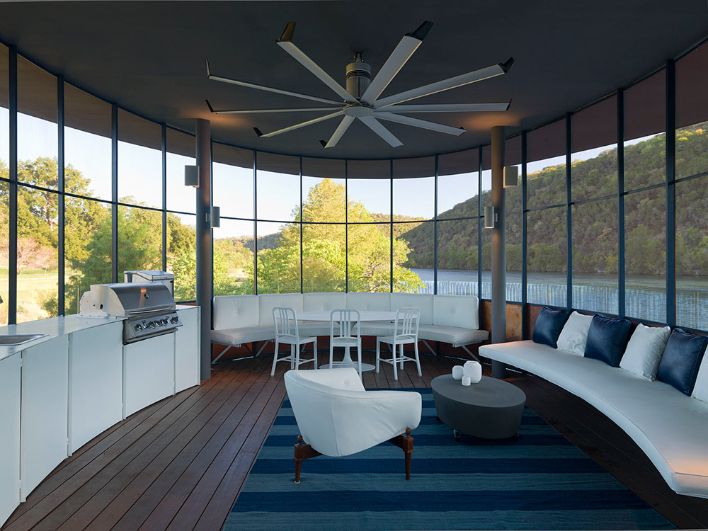 Living Space & Kitchen, Shore Vista Boat Dock, Lake Austin, Texas by Bercy Chen Studio