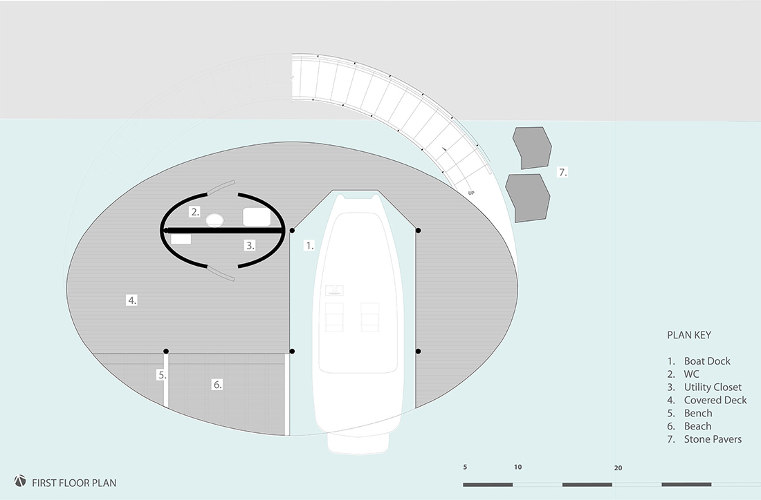 First Floor Plan, Shore Vista Boat Dock, Lake Austin, Texas by Bercy Chen Studio