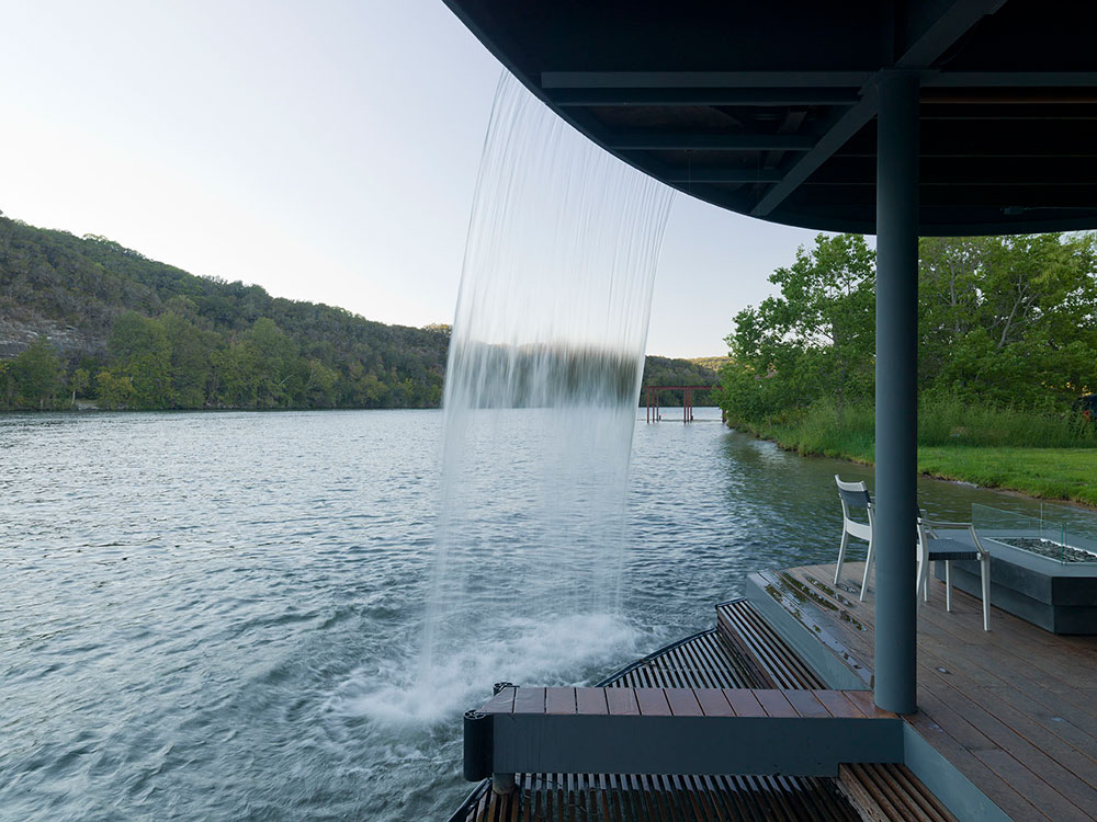 Waterfall, Shore Vista Boat Dock, Lake Austin, Texas by Bercy Chen Studio