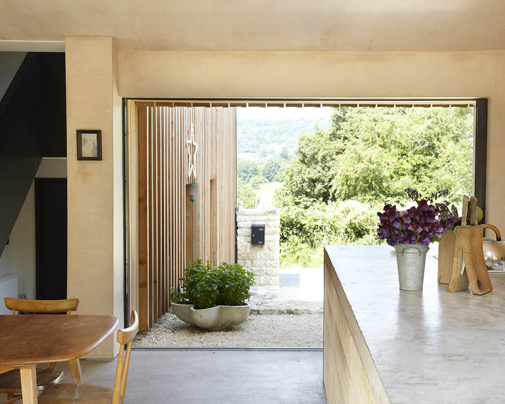 Kitchen, Large Patio Doors, Starfall Farm, Somerset, England by Invisible Studio