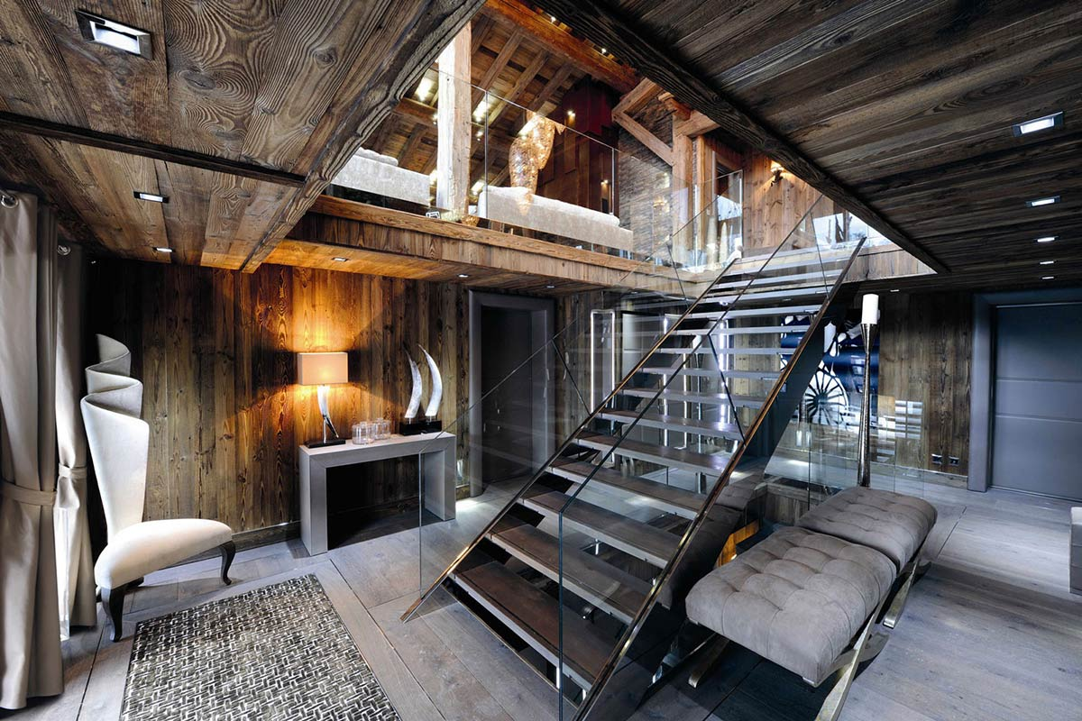 Entrance Hall, Stairs, Chalet Brikell, Rhone-Alpes by Pure Concept