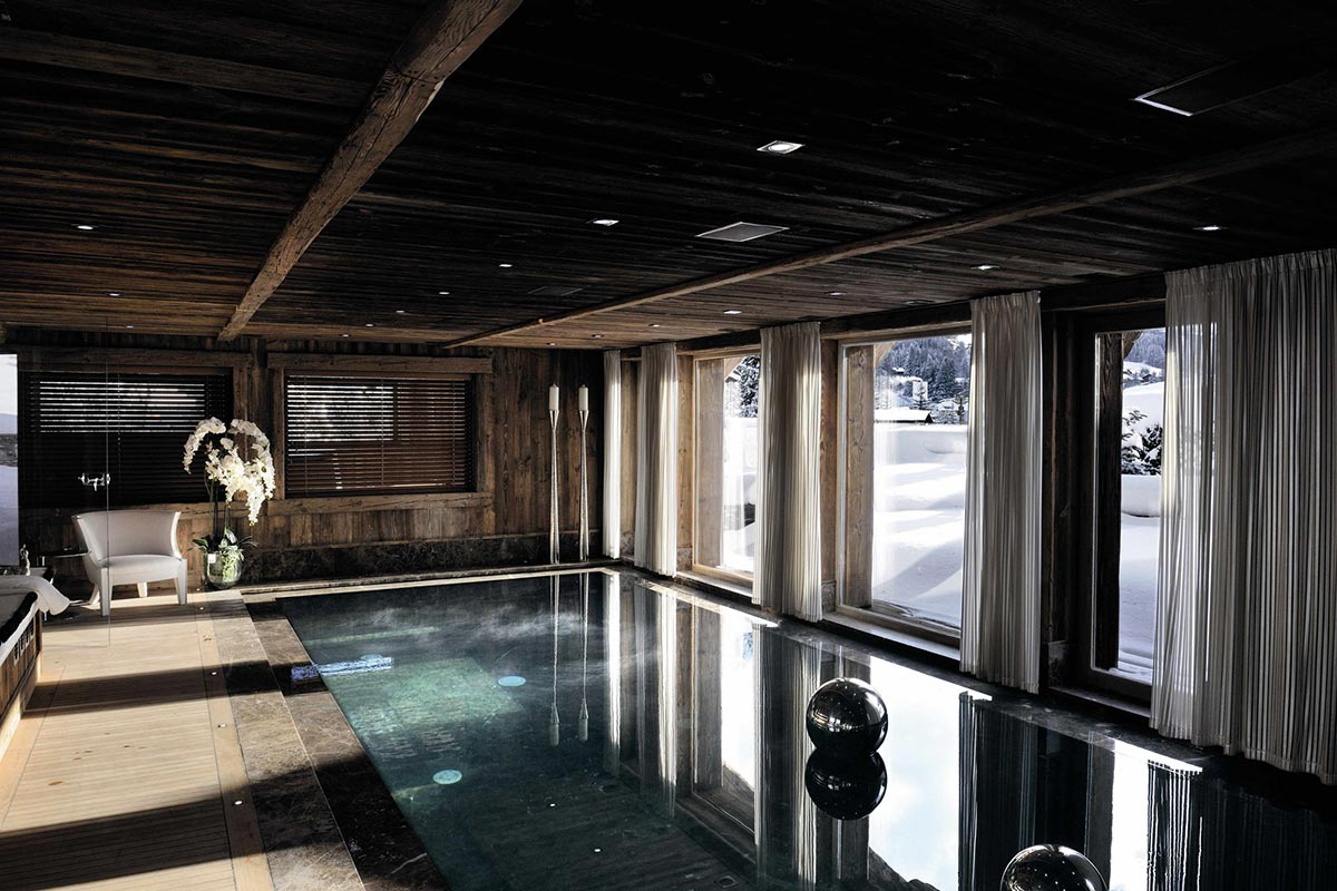 Pool Room, Wood Beams, Chalet Brikell, Rhone-Alpes by Pure Concept