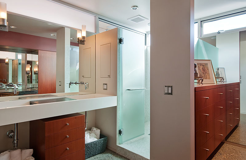 Bathroom, Lake Union Floating Home, Seattle by Vandeventer + Carlander Architects
