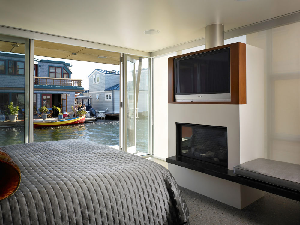 Bedroom, Lake Union Floating Home, Seattle by Vandeventer + Carlander Architects