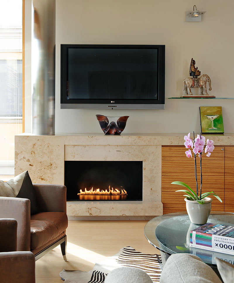 Contemporary Fireplace, Lake Union Floating Home, Seattle by Vandeventer + Carlander Architects