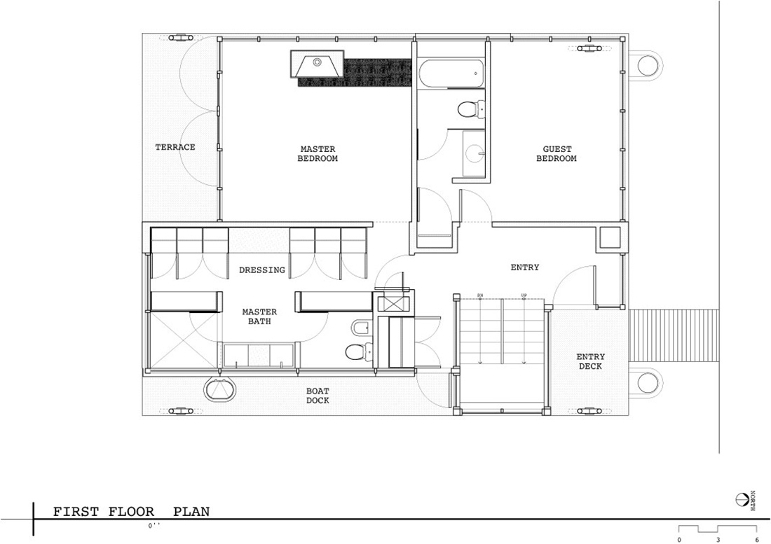 First Floor Plan, Lake Union Floating Home, Seattle by Vandeventer + Carlander Architects