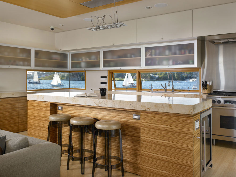 Kitchen, Lake Union Floating Home, Seattle by Vandeventer + Carlander Architects