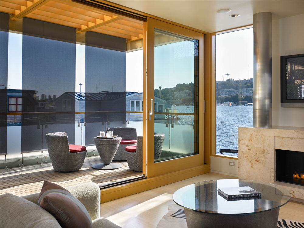 Living Space, Fireplace, Lake Union Floating Home, Seattle by Vandeventer + Carlander Architects