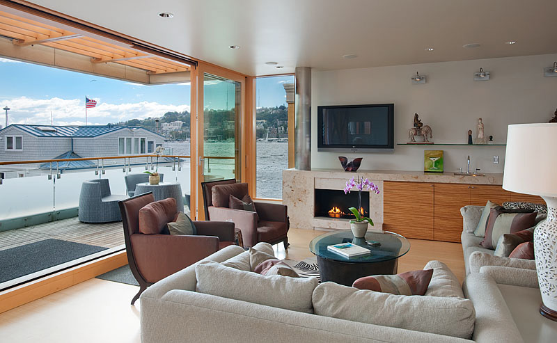 Living Room, Lake Union Floating Home, Seattle by Vandeventer + Carlander Architects