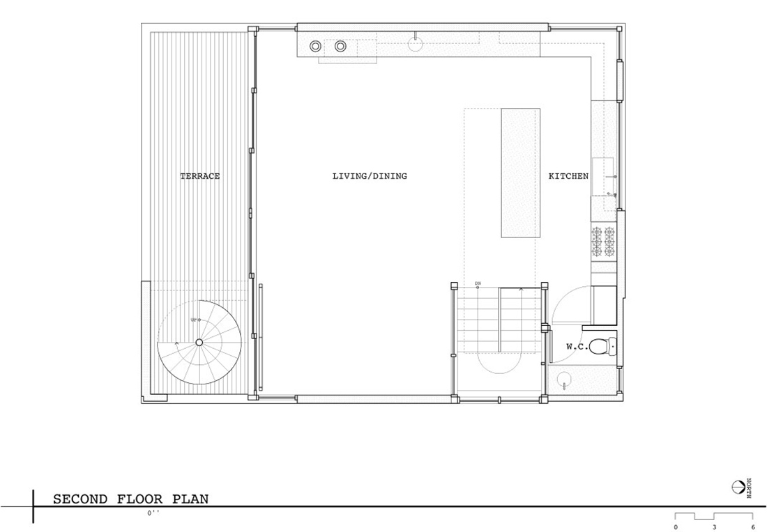 Second Floor Plan, Lake Union Floating Home, Seattle by Vandeventer + Carlander Architects