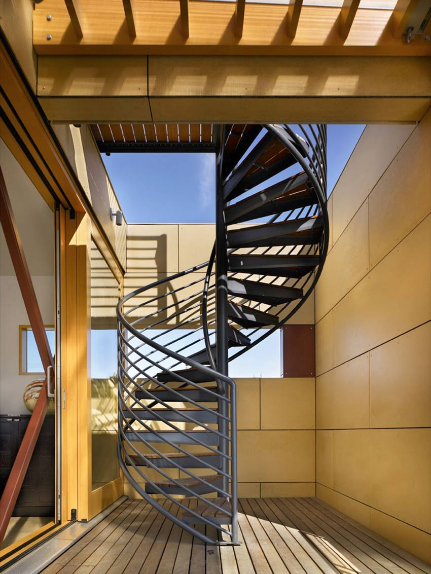 Spiral Stairs, Lake Union Floating Home, Seattle by Vandeventer + Carlander Architects