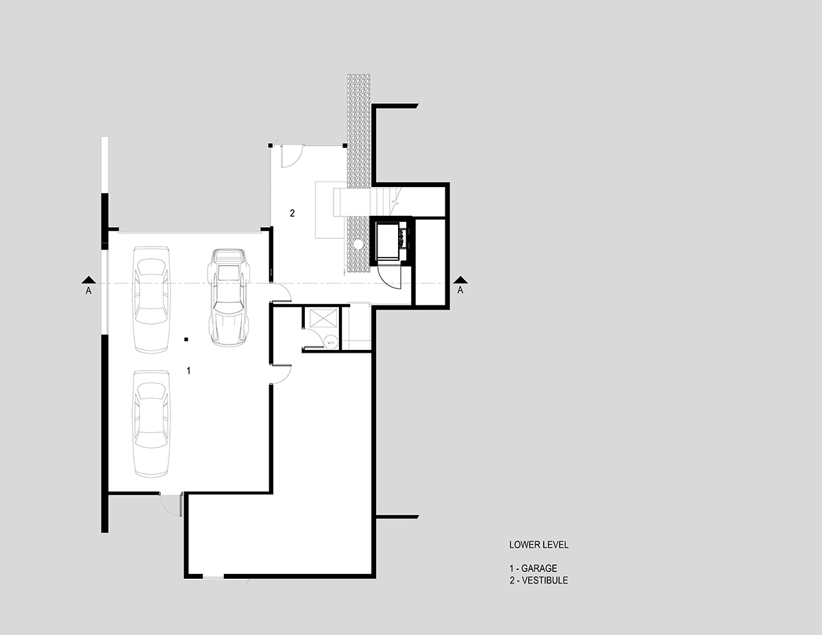 Lower Level Plan, H-House, Salt Lake City by Axis Architects