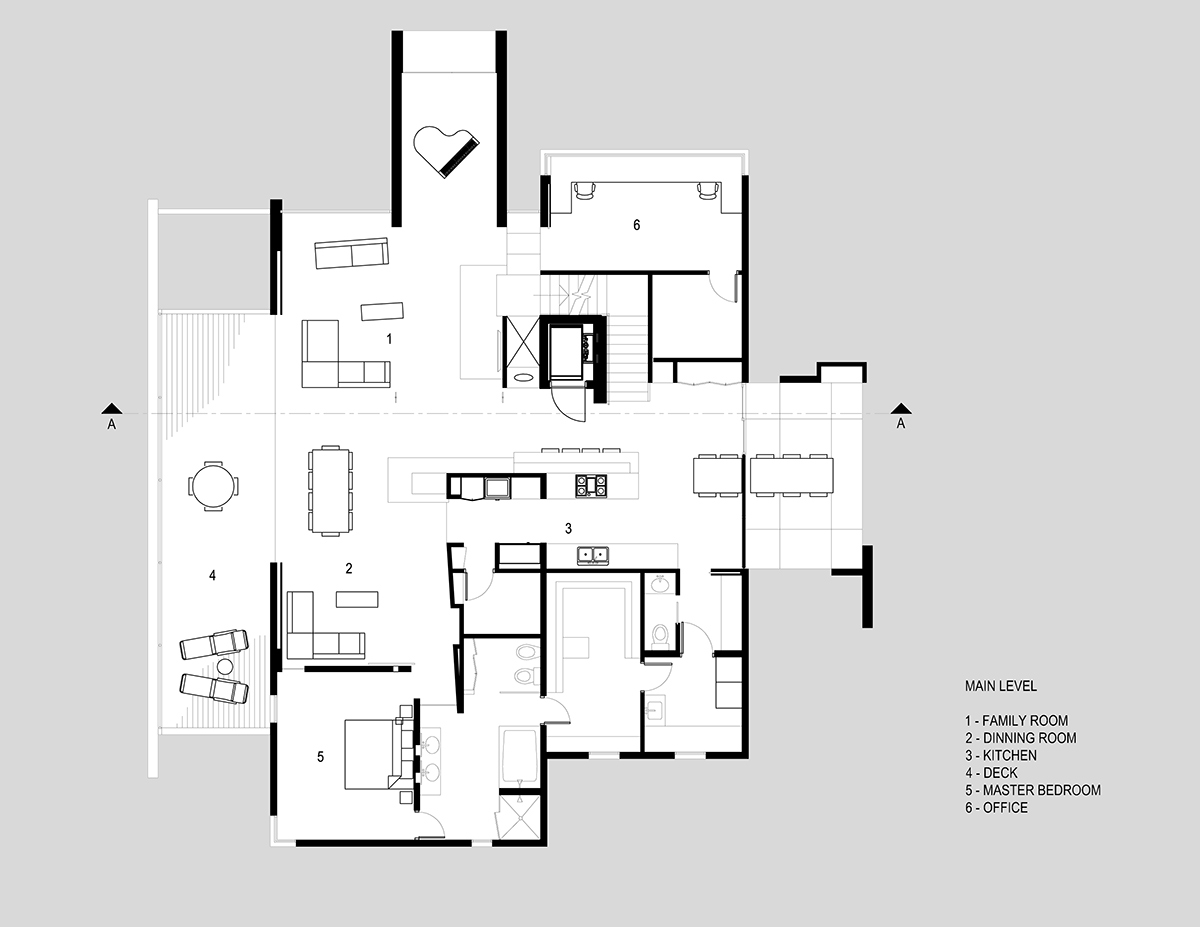 Main Level Plan, H-House, Salt Lake City by Axis Architects