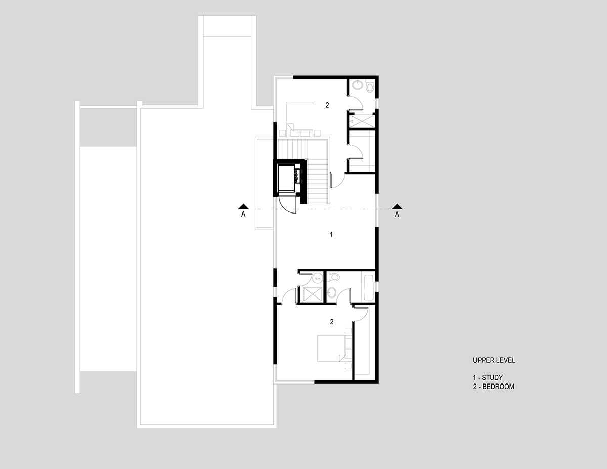 Upper Level Plan, H-House, Salt Lake City by Axis Architects