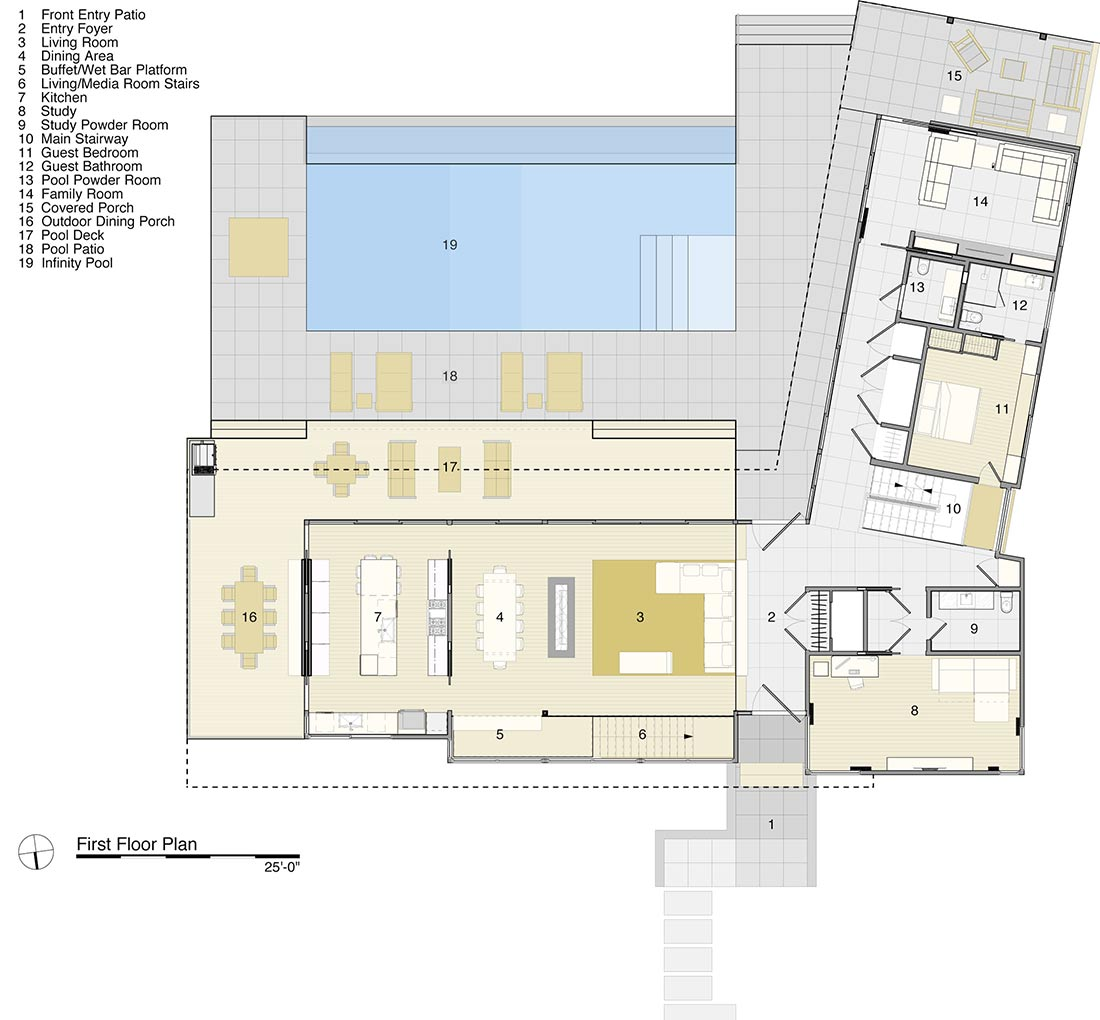 First Floor Plan, House by the Pond, New York by Stelle Architects