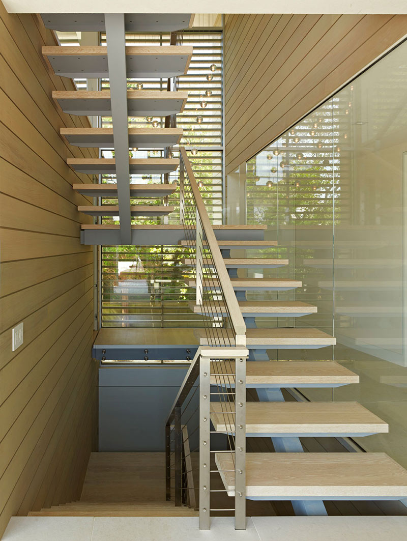 Stairs, House by the Pond, New York by Stelle Architects