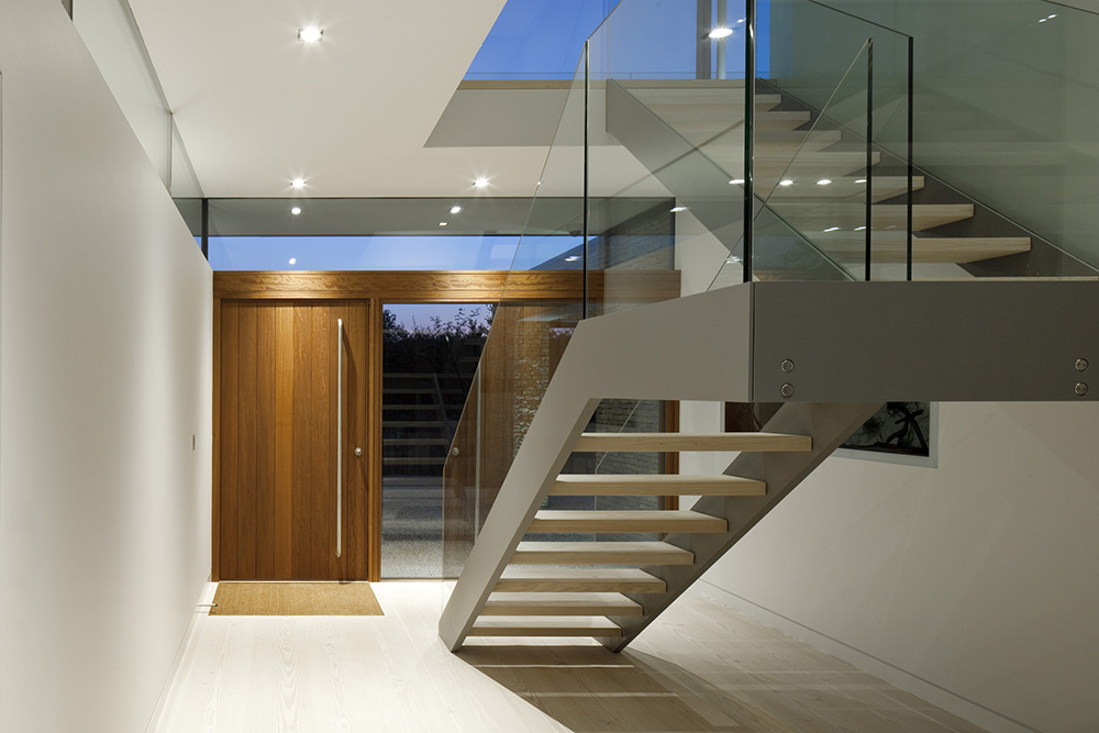 Entrance, Stairs, Hurst House, Buckinghamshire by John Pardey Architects + Strom Architects
