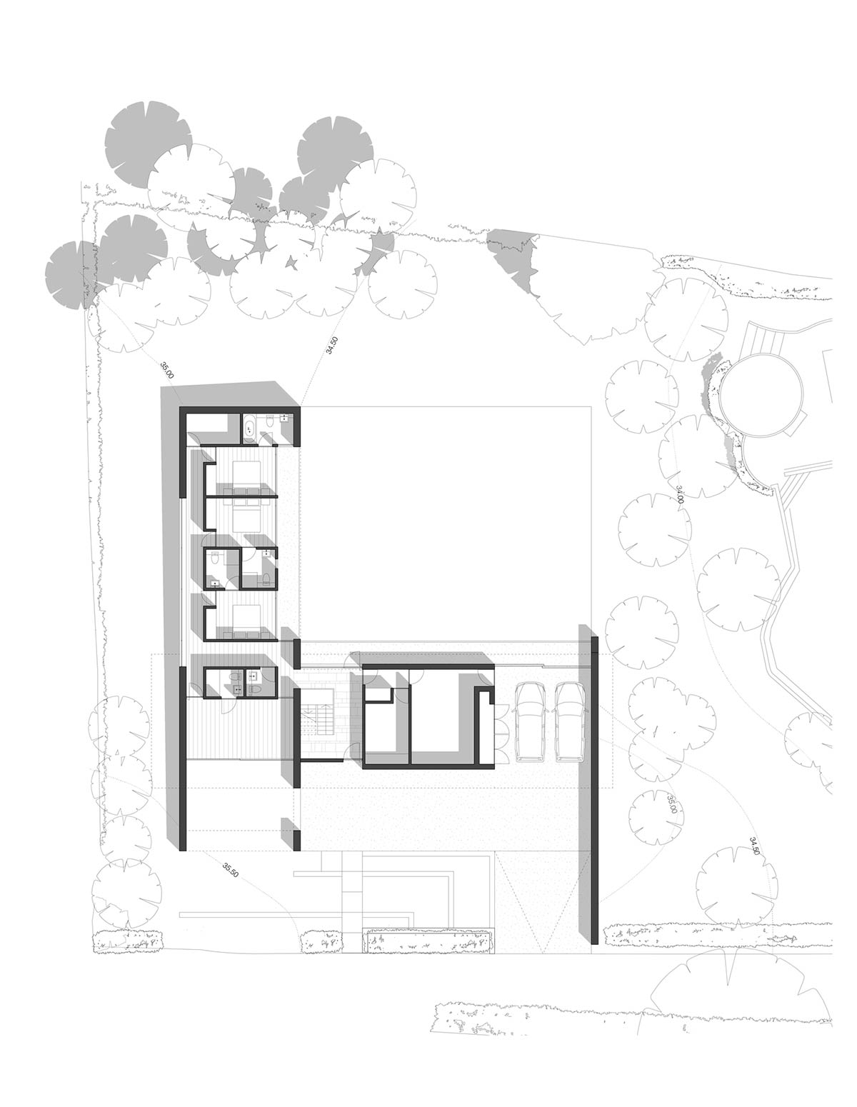 Plan, Hurst House, Buckinghamshire by John Pardey Architects + Strom Architects