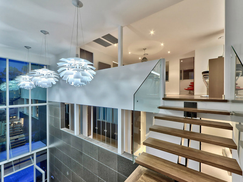 Stairs, Lighting, Luxury Home on Brisbane River