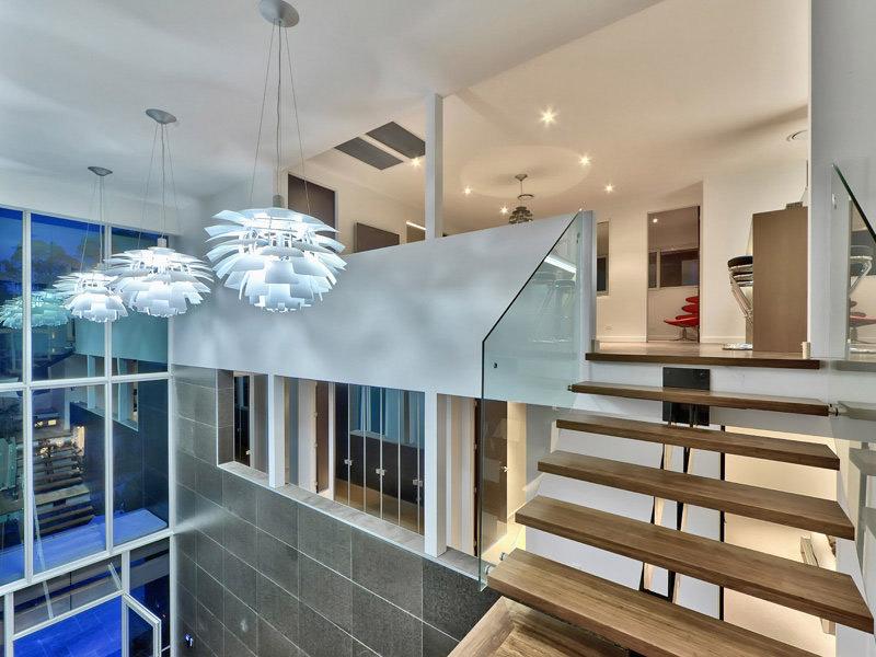 Stairs, Lighting, Luxury Home on Brisbane River