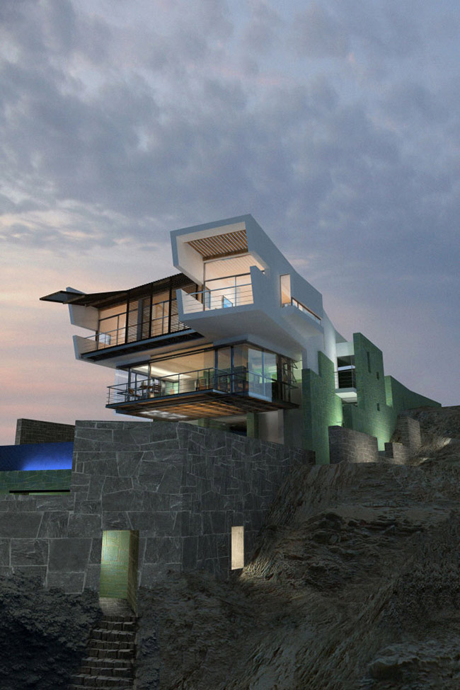 Evening, Lights, Lefevre House, Peru by Longhi Architects