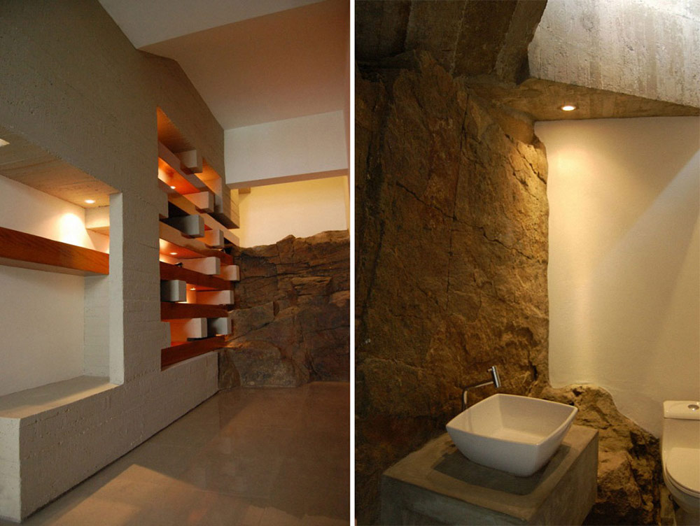 Natural Rock Walls, Bathroom, Lefevre House, Peru by Longhi Architects