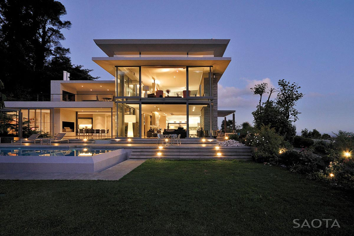 Evening Lights, Terrace, Pool, Montrose House, Cape Town by SAOTA