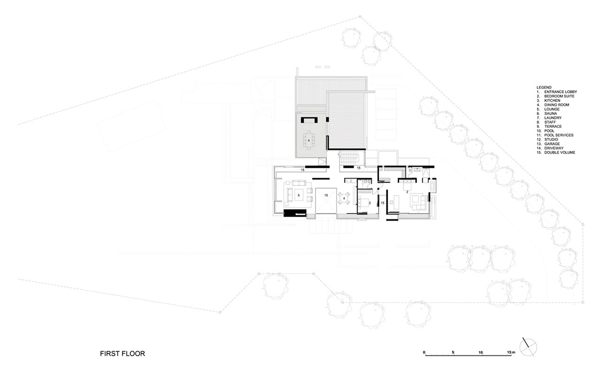 First Floor Plan, Montrose House, Cape Town by SAOTA