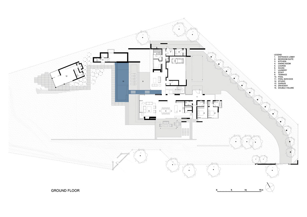 Ground Floor Plan, Montrose House, Cape Town by SAOTA