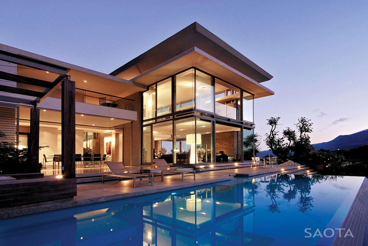 Pool, Terrace, Evening, Montrose House, Cape Town by SAOTA