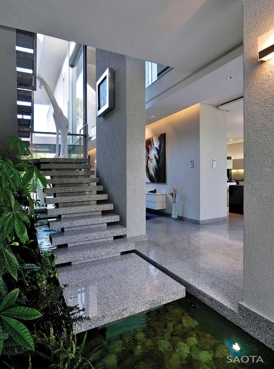 Stairs Water Feature Montrose House Cape Town By Saota