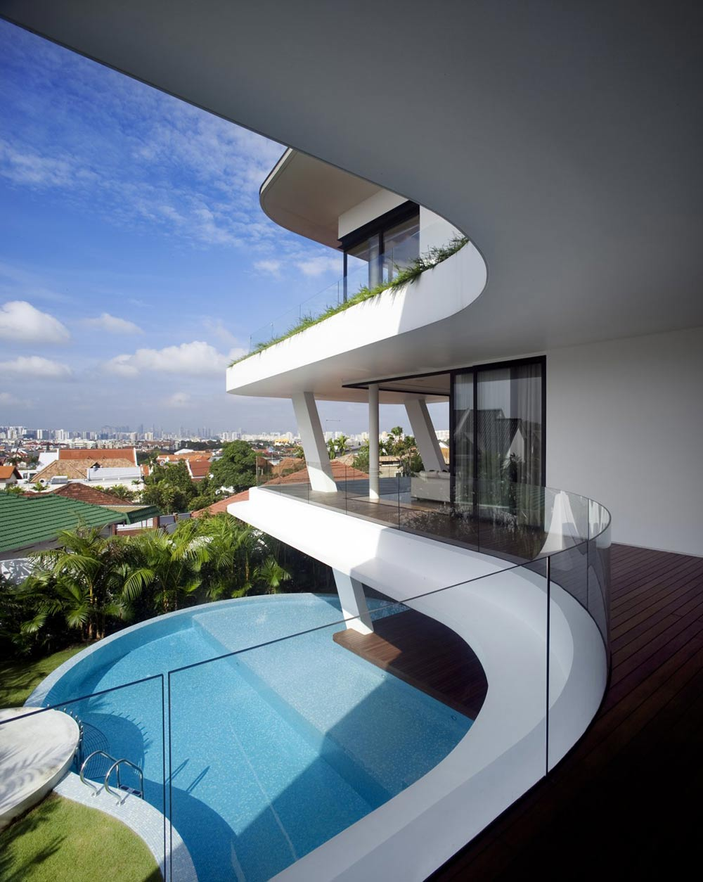 Balcony, Pool View, Ninety7 @ Siglap Road House by Aamer Architects