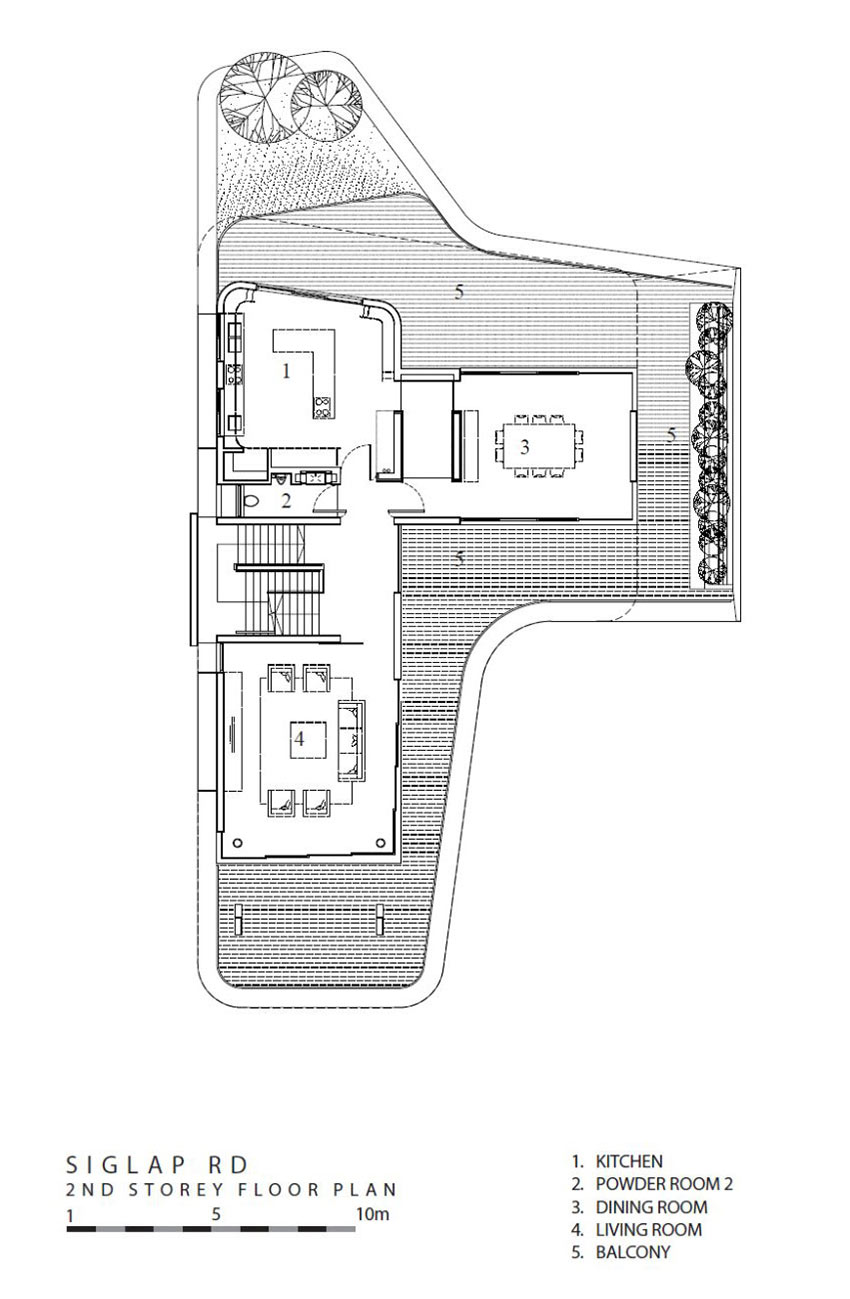 Second Floor Plan, Ninety7 @ Siglap Road House by Aamer Architects