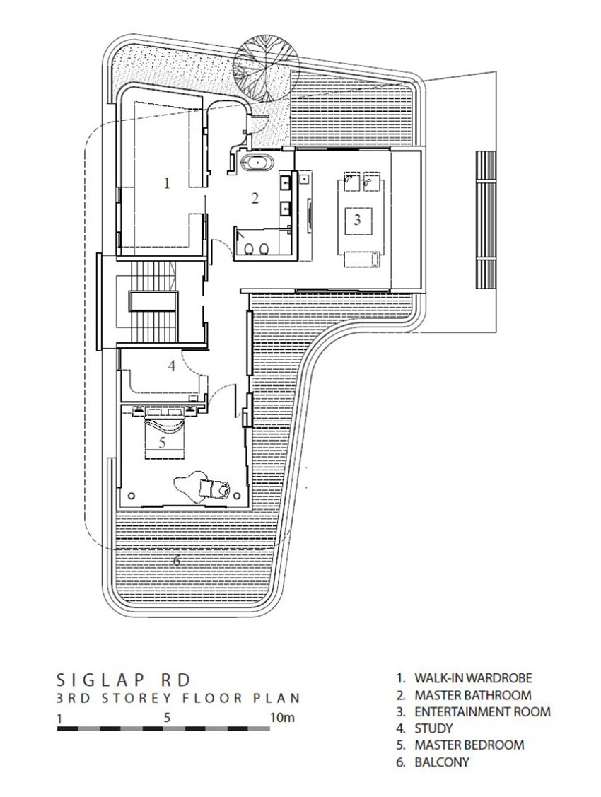 Third Floor Plan, Ninety7 @ Siglap Road House by Aamer Architects