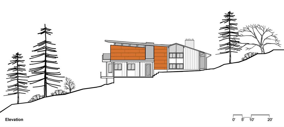 Elevation, Seidenberg House, Pennsylvania by Metcalfe Architecture & Design