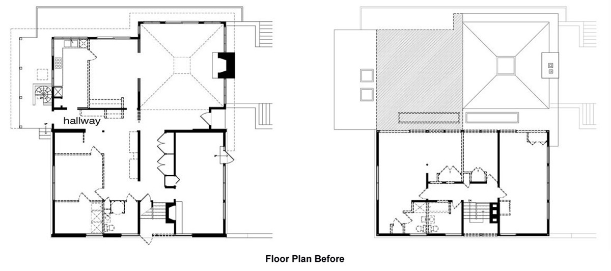 Floor Plan Before, Seidenberg House, Pennsylvania by Metcalfe Architecture & Design