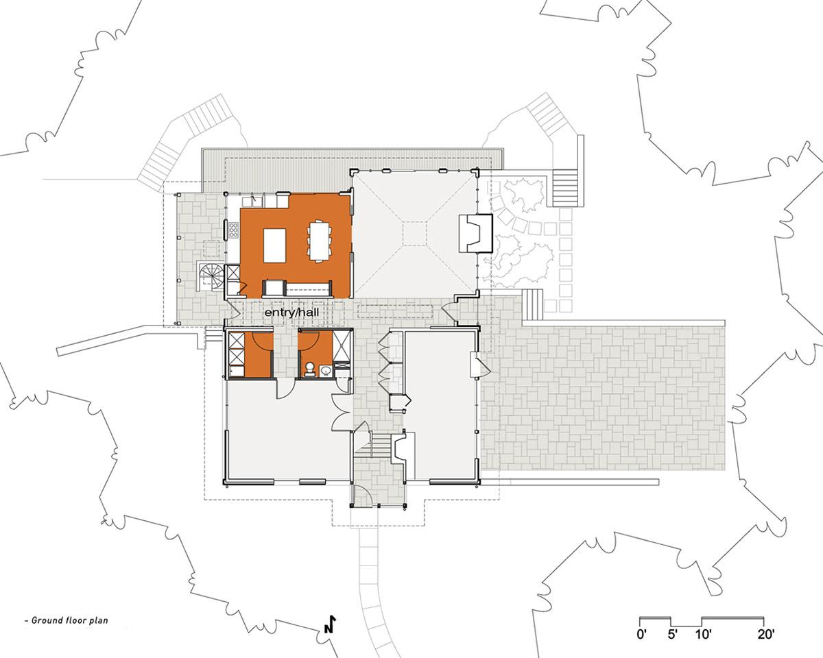 Ground Floor Plan, Seidenberg House, Pennsylvania by Metcalfe Architecture & Design