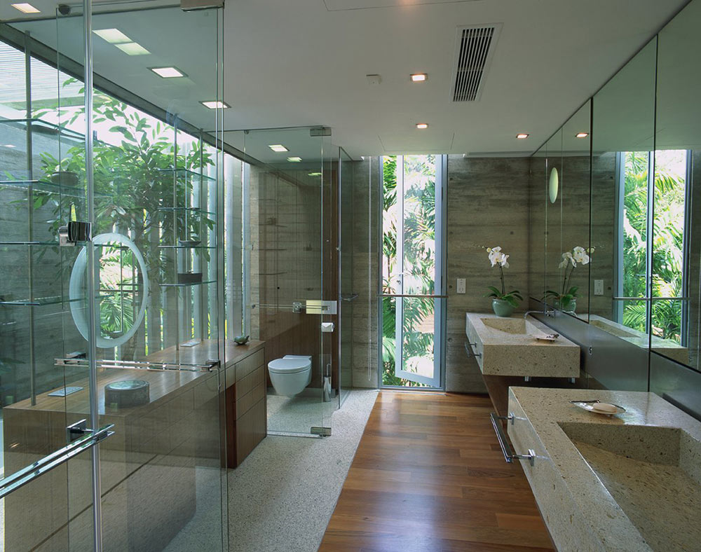 Bathroom, Glass & Stone, Sunset Vale House, Singapore by WOW Architects