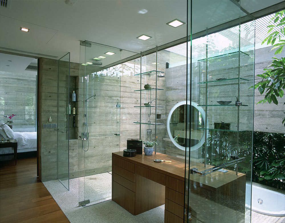 Bathroom, Sunken Bath, Sunset Vale House, Singapore by WOW Architects