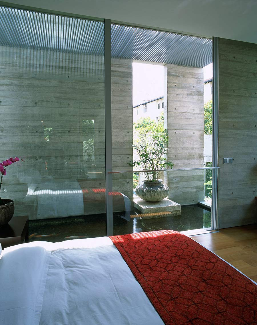 Bedroom, Glass Walls & Water-Feature, Sunset Vale House, Singapore by WOW Architects