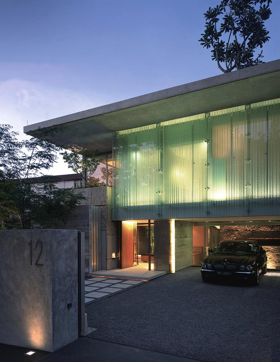 Entrance, Car Port, Sunset Vale House, Singapore by WOW Architects