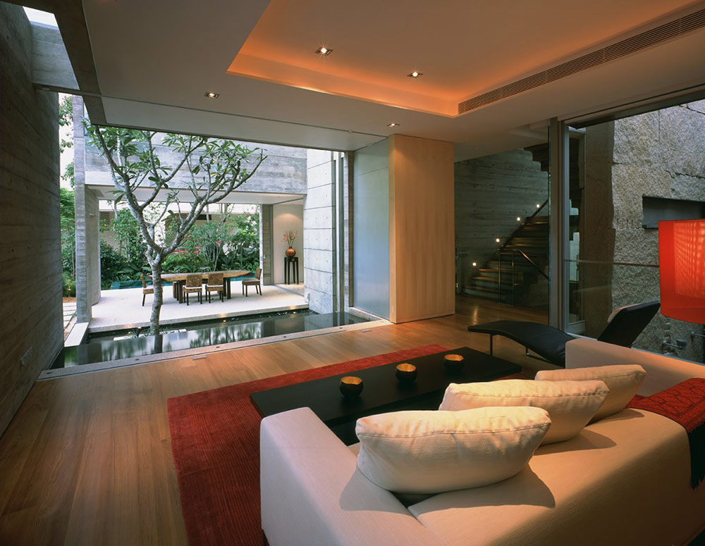 Living Space, Water Feature, Sunset Vale House, Singapore by WOW Architects